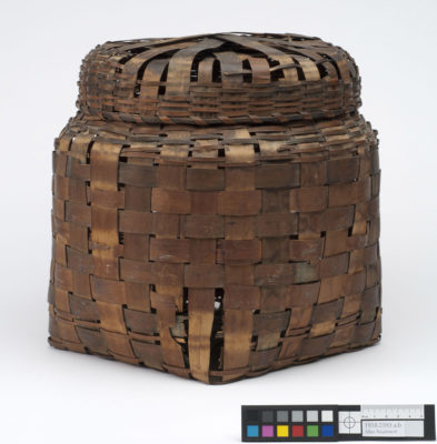 Profile view of a covered storage basket.