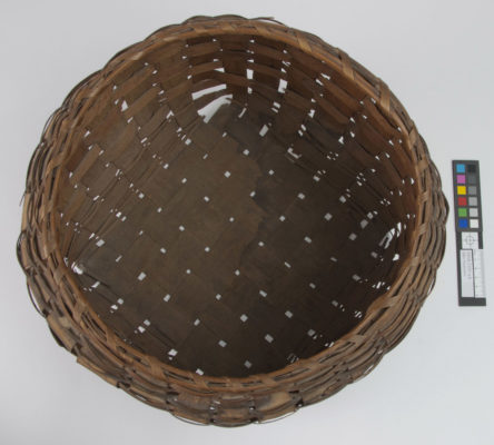 Top view of round storage basket without cover.
