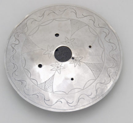 front of silver gorget