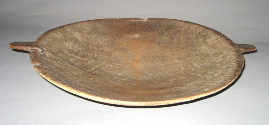 Full view of flat wooden bowl/platter