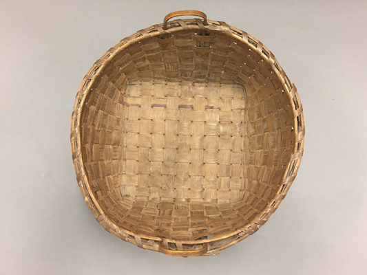 Top view of large round basket with two handles
